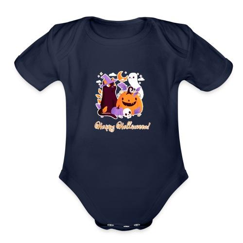 Halloween happy - Organic Short Sleeve Baby Bodysuit