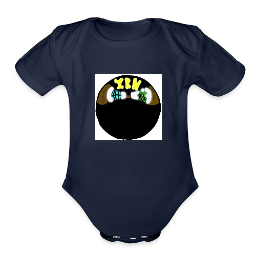 YOUNG RICH NINJA LOGO - Organic Short Sleeve Baby Bodysuit