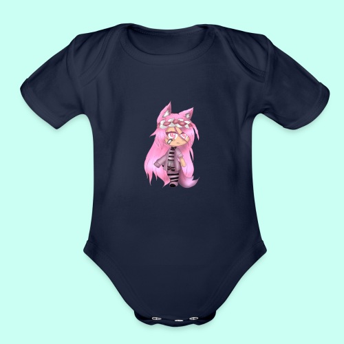 Pink Gacha Life Oc - Organic Short Sleeve Baby Bodysuit