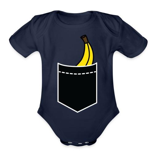 banana pocket funny innuendo quote slogan saying - Organic Short Sleeve Baby Bodysuit