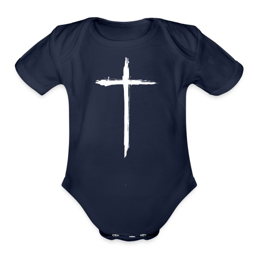 White Cross for Back of Shirt - Organic Short Sleeve Baby Bodysuit