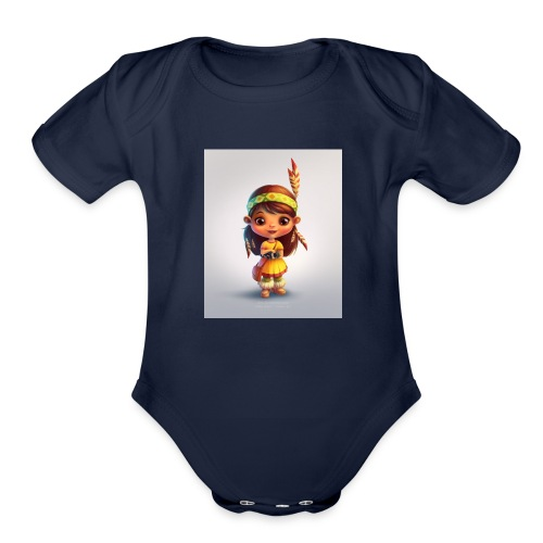 indian girl shirt - Organic Short Sleeve Baby Bodysuit