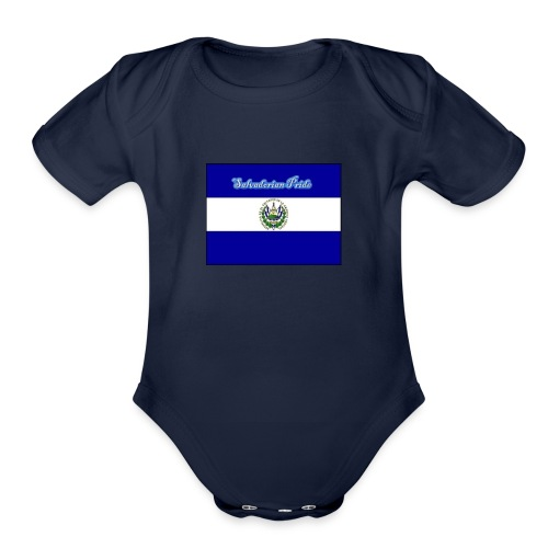 652fedbe86131b439e3b58ea82451d89 el salvador flag - Organic Short Sleeve Baby Bodysuit