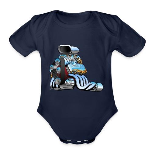 Hot rod race car engine cartoon - Organic Short Sleeve Baby Bodysuit