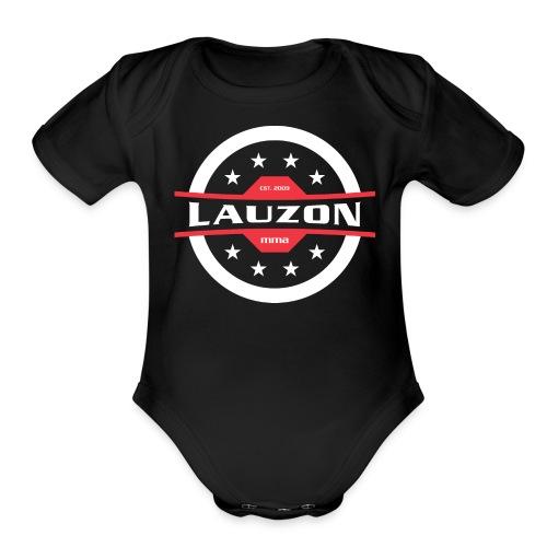White on Black Lauzon MMA Logo w No Words - Organic Short Sleeve Baby Bodysuit
