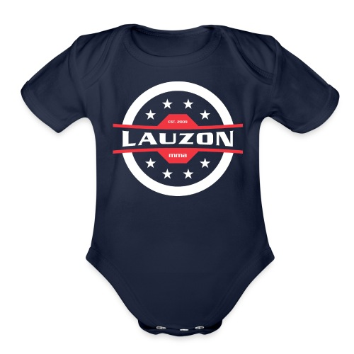 White on Black Lauzon MMA Logo w No Words - Organic Short Sleeve Baby Bodysuit