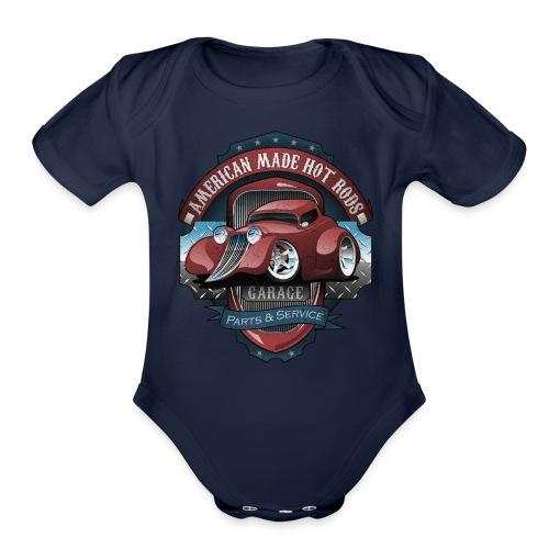 American Hot Rods Garage Vintage Car Sign Cartoon - Organic Short Sleeve Baby Bodysuit