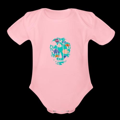 Underwater Skull - Organic Short Sleeve Baby Bodysuit