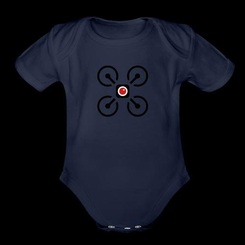 Drone Art Logo Black - Organic Short Sleeve Baby Bodysuit