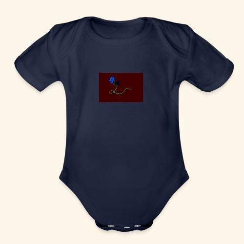 dove with blue rose logo - Organic Short Sleeve Baby Bodysuit