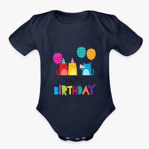 Cats & Happy Birthday - Organic Short Sleeve Baby Bodysuit