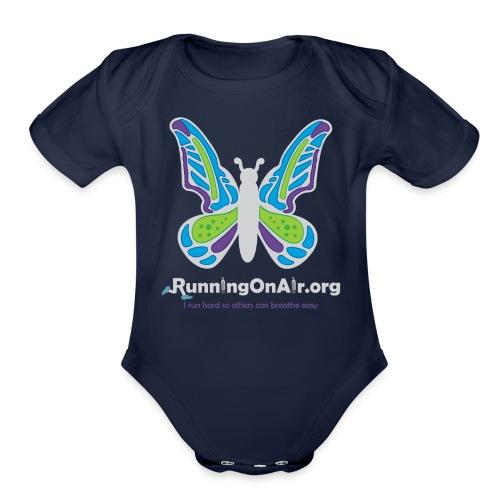 Running On Air logo for dark colored shirts - Organic Short Sleeve Baby Bodysuit