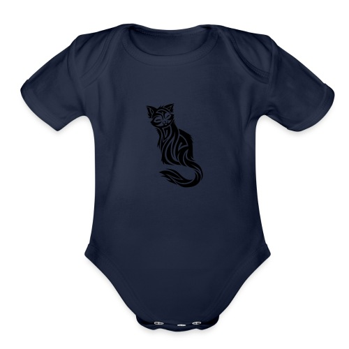 elegant-cat-with-bird-tattoo-design-5 - Organic Short Sleeve Baby Bodysuit