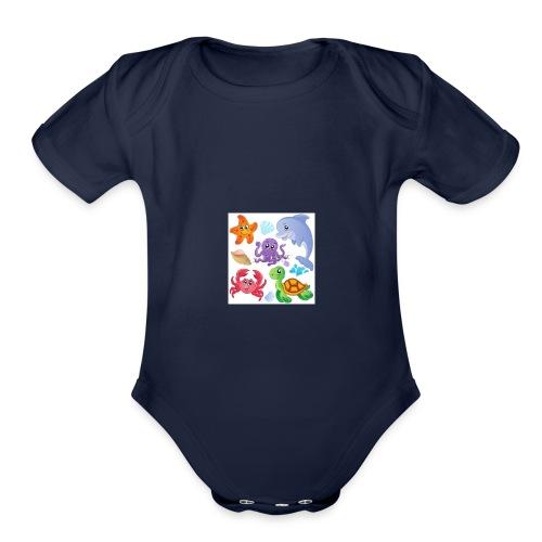 animales animados - Organic Short Sleeve Baby Bodysuit