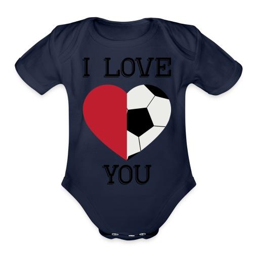 i love you soccer - Organic Short Sleeve Baby Bodysuit