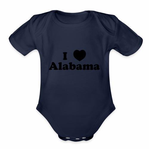 alabama heart - Organic Short Sleeve Baby Bodysuit