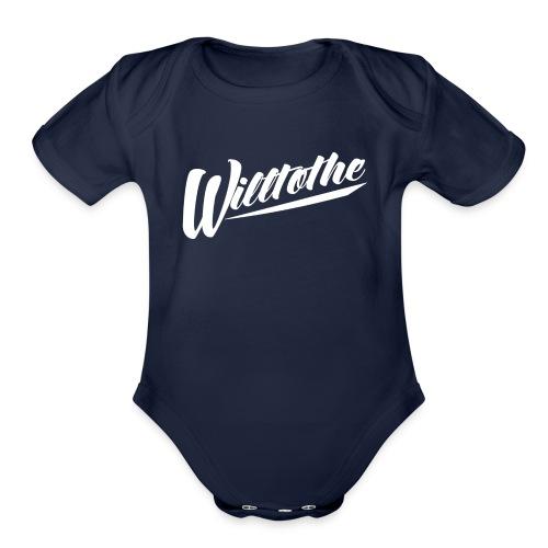 Willtothe Logo White - Organic Short Sleeve Baby Bodysuit