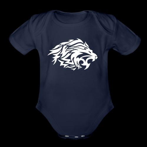 lion white - Organic Short Sleeve Baby Bodysuit