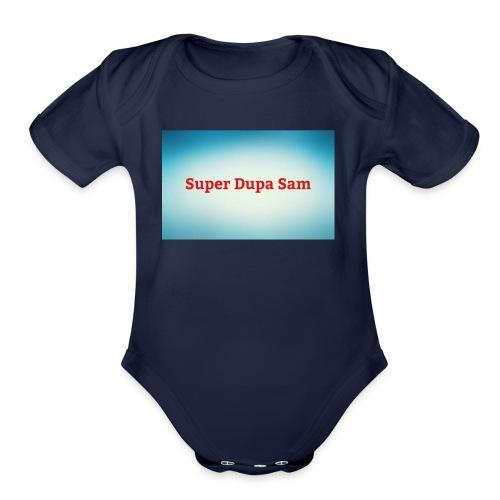 Super Dupa logo - Organic Short Sleeve Baby Bodysuit