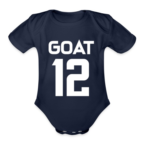 New England Brady GOAT 12 Football - Organic Short Sleeve Baby Bodysuit