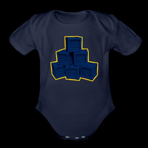 Blue Box LowPoly - Organic Short Sleeve Baby Bodysuit