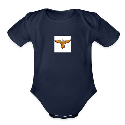 p4979 flaming eagle lg 1 - Organic Short Sleeve Baby Bodysuit