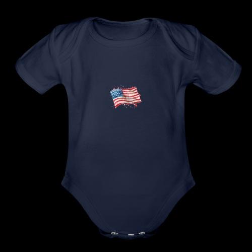 Water Color Pat - Organic Short Sleeve Baby Bodysuit