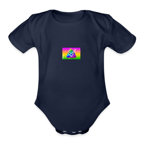 rainbow poop - Organic Short Sleeve Baby Bodysuit