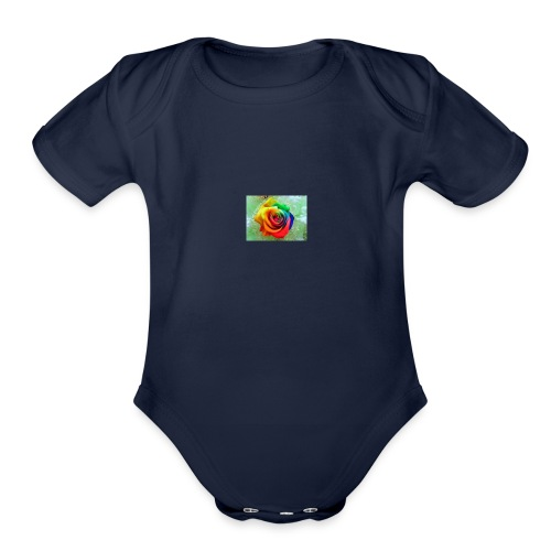 rainbow flower - Organic Short Sleeve Baby Bodysuit