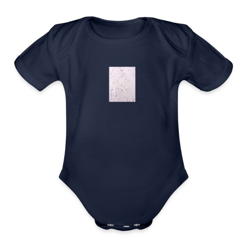 foot/ paw prints in the sand - Organic Short Sleeve Baby Bodysuit