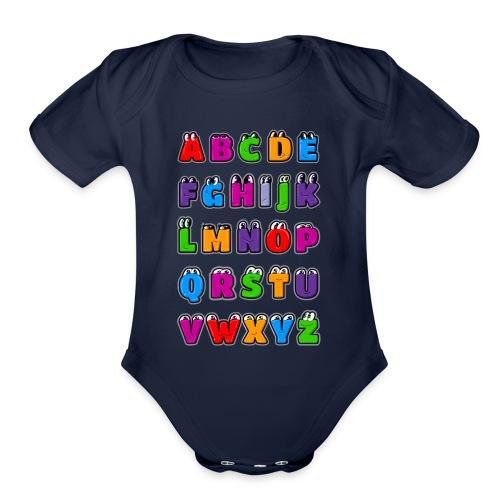 Kawaii Alphabet Letters ABC for children - Organic Short Sleeve Baby Bodysuit