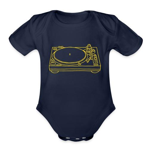 record player - Organic Short Sleeve Baby Bodysuit