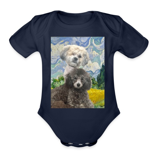 Morty and Wonton - Dogs of Modern Art - Organic Short Sleeve Baby Bodysuit