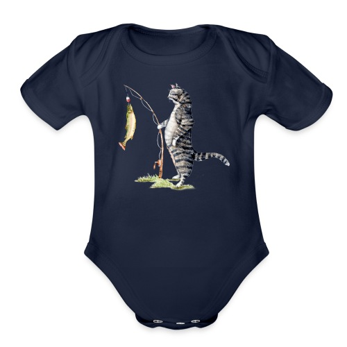 Cat with Fish by Goosi - Organic Short Sleeve Baby Bodysuit