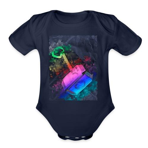 Mjöelnir - Thor's Hammer - Organic Short Sleeve Baby Bodysuit