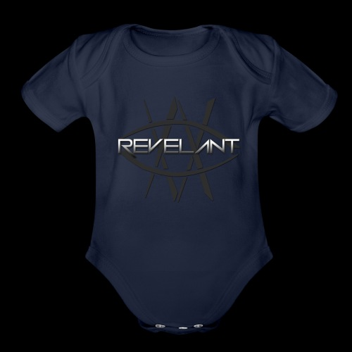 Revelant eye and text logo, black. - Organic Short Sleeve Baby Bodysuit