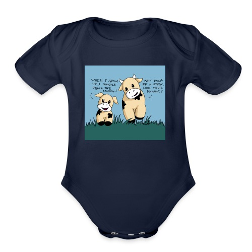 cow tales - Organic Short Sleeve Baby Bodysuit