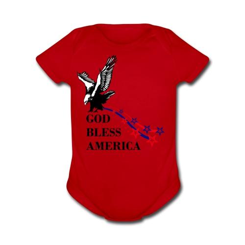 CUSTOM DESIGN GOD BLESS AMERICA - Organic Short Sleeve Baby Bodysuit