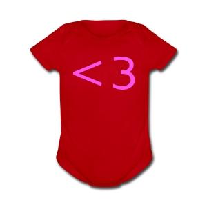 PINK HEART - Short Sleeve Baby Bodysuit