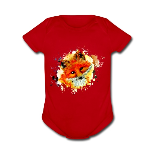 fox face - Organic Short Sleeve Baby Bodysuit