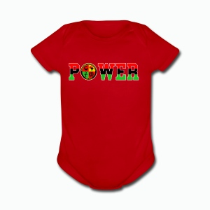 Afrikan Power with Logo and White trim - Short Sleeve Baby Bodysuit