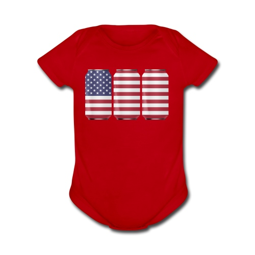 beer can USA Flag - Organic Short Sleeve Baby Bodysuit