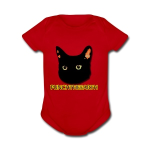PunchTheEarth Cat with Text - Short Sleeve Baby Bodysuit