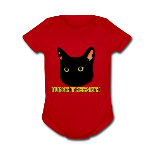 PunchTheEarth Cat with Text - Organic Short Sleeve Baby Bodysuit
