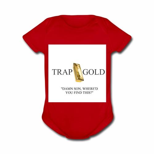trap gold logo - Organic Short Sleeve Baby Bodysuit