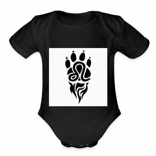 Black Leo Zodiac Sign - Organic Short Sleeve Baby Bodysuit