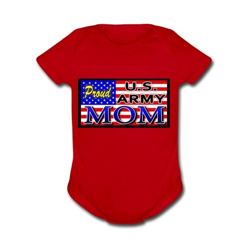 Proud Army mom - Organic Short Sleeve Baby Bodysuit