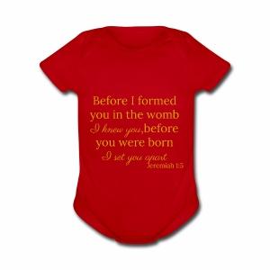 Jeremiah 1:5 Gold - Short Sleeve Baby Bodysuit