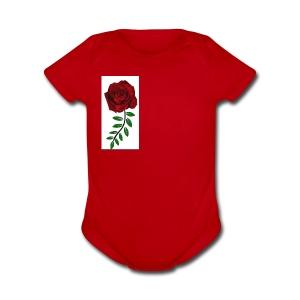 Rose Design - Short Sleeve Baby Bodysuit
