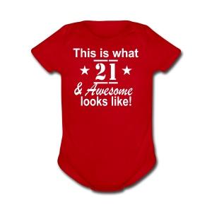 21st Birthday - Short Sleeve Baby Bodysuit